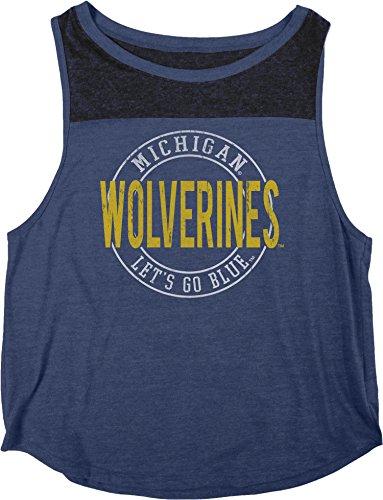 Blue 84 NCAA Michigan Wolverines Damen Heritage Tri-Blend Yoke Tank Shirt, X-Large, Marineblau