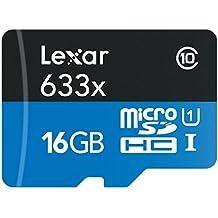 Tarjetas Lexar High-Performance 16GB 633x microSDHC UHS-I con Adaptador - LSDMI16GBBEU633A