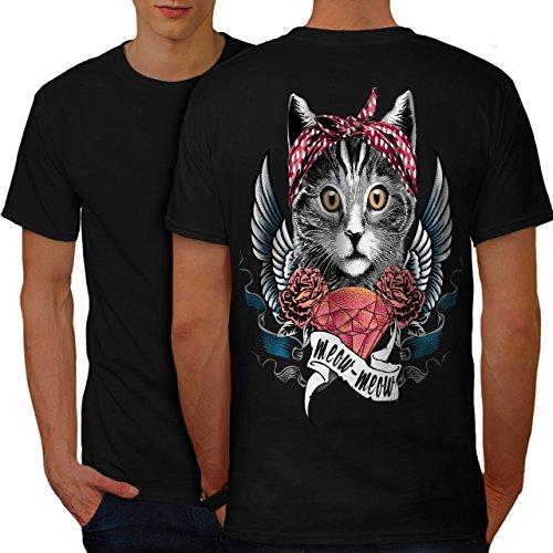 wellcoda Niedlich Herz Flügel Miau Katze Männer 5XL Ringer T-Shirt (Flügel Ringer T-shirt)