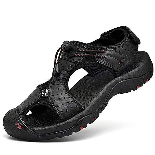 rismart Herren Closed Zu Draussen Sport Trekking Schuhe Leder Sandalen SN1505(Schwarz,44 EU)