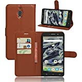 Alcatel Pixi 4 (6 inch) 4G 9001 Mobile Phone Case Cover luxury PU lather magnetic book Wallet case for Alcatel Pixi in various colours (Alcatel Pixi 4 (6 inch) 4G 9001 Brown book case)