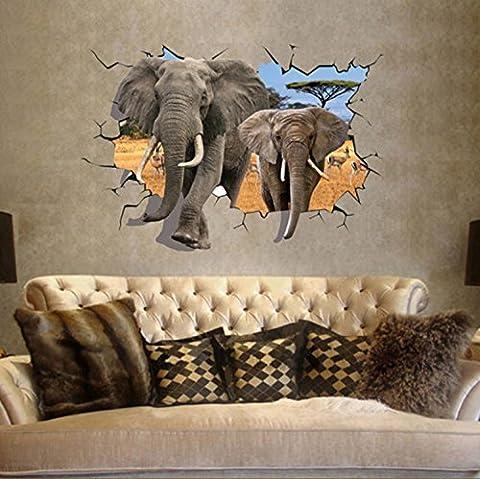 E-Love Sticker mural amovible 3D pour chambre d'enfant Thème Afrique Motif éléphants
