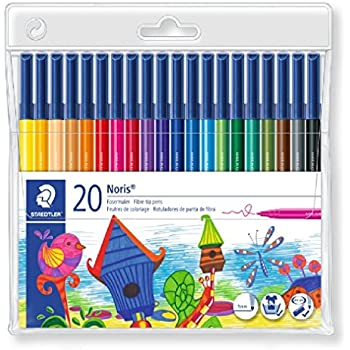 STAEDTLER Noris Club 326 WP20 Fibre Tip Pen in Wallet, Assorted Colours, Pack of 20