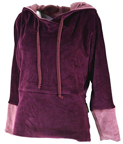 Guru-Shop Samt Hoody Boho Chic, Langarmshirt mit Kapuze, Damen, Baumwolle, Pullover, Longsleeves & Sweatshirts Alternative Bekleidung Rot
