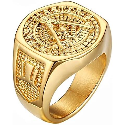 Gudeke Acero Inoxidable 18k Plateó el Anillo de Acero Titanium de los Hombres Libres de Mason Masónico Masonería Libre y Anillo Masones Aceptados (11)