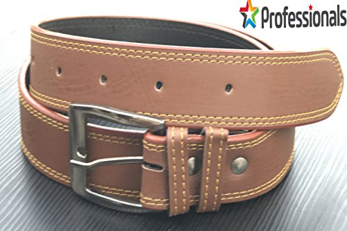 Genuine Leather For Casual and Formal - Belt For Men and Boys, Brown With Thread Design For Daily Use / (PROFESSIONALS CHOICE)