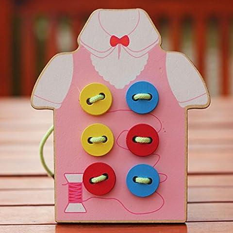 Threading Lacet Premiers Jouets Educatifs Pour les Enfants Tout-petits Bouton Perles Laçage Carte Bois Rose