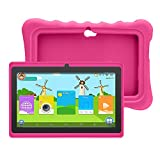Yuntab Q88H 7' Tablette Tactile Enfant 1024X600 HD Resolution 8Go Android 4.4 A33 Quad Core Bluetooth Google Play Store avec Etui en silicone (Rose)