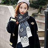 Slub Wool Snowflake Scarf Autumn and Winter Knit long All Match Students Thickened Bib Male , black & white