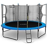 Klarfit Rocketboy 366 Cama elástica trampolin con red de seguridad (superficie base 366cm diametro, sujecion 4 patas doble, varillas de sujecion acolchadas, lona resistente a los rayos UV, protector de lluvia, azul)