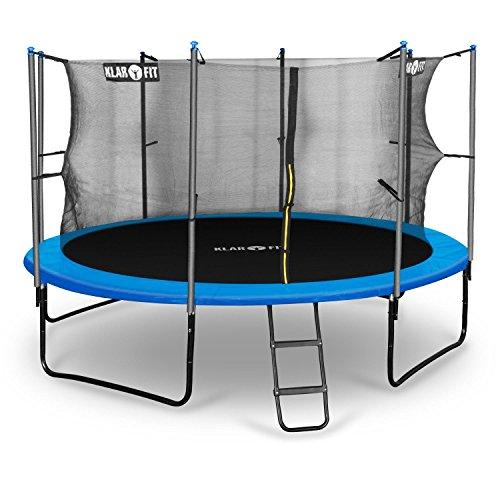 Klarfit Rocketboy 366 Outdoor Gartentrampolin mit Leiter und Netz Garten-Trampolin für Kinder (366 cm Durchmesser, inkl. Leiter Sicherheitsnetz und Regenschutz, gepolsterten Stangen, bis max. 150kg) blau