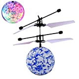 Mini Flying RC Ball, Rcool Crystal Hand Suspension Helicopter Aircraft Infrared Sensing Induction Flying Ball Drone Toy with Colorful LED Lighting Flashing for Kids (Blue)