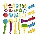 Wartoon Clay et Pâte Outils avec des Modèles et des Moules, pâte à Modeler en Plastique Rollers pâte Moules Cutters Animaux Formes de Fruits, Couleur Assortie, 23 PCS