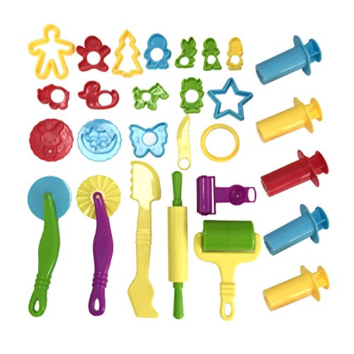 Wartoon Clay and Dough Tools with Models and Molds, Accessories for Play Dough Plastic Dough Rolls Cutter Molds Fruit Animals Shapes, Color Assorted, 28 Parts