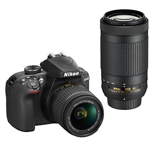 Nikon D3400 Digitales Spiegelreflexkamera mit Objektiv Nikkor AF-P 18 / 55VR, 24,7 Megapixel, LCD 3 Zoll, SD 8 GB 300 x Premium Lexar, schwarz (Nital card: 4 Jahre Garantie)