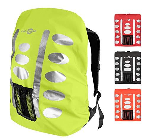 Regenschutz Rucksack (gelb, 40-55L) Rucksack Überzug mit reflektierenden Elementen und Extra-Tasche - Wasserdichtes Regen Cover für viele Rucksack Größen (40L, 50L, 60L) Unisex Rucksackschutz