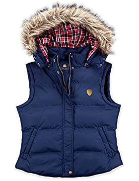 Para mujer Brave Soul Hopp chaleco acolchado chaleco acolchado para mujer con capucha y pelo sintético chaqueta