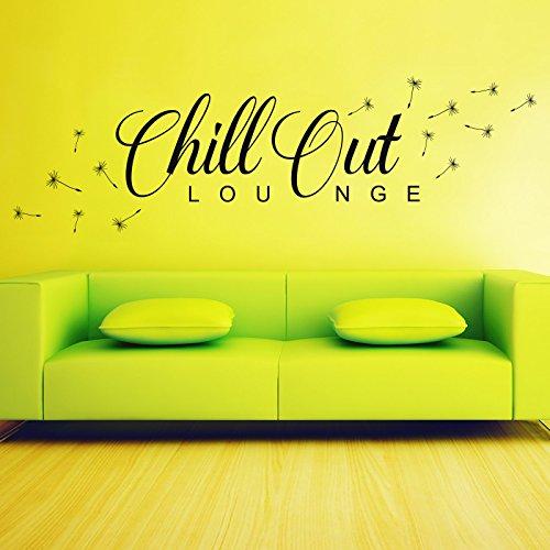 Wandtattoo Chill Out Lounge | Mit Pusteblume Löwenzahn Flug Samen Wohnzimmer Pastellgrün 622 120 x 36 cm