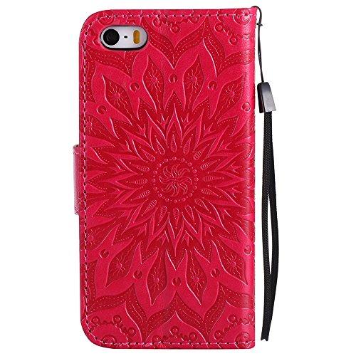 EKINHUI Case Cover Für Apple IPhone 5s SE Fall, Prägen Sonnenblume Magnetic Pattern Premium Weiche PU Leder Brieftasche Stand Case Cover mit Lanyard & Halter & Card Slots ( Color : Red ) Red