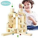 Onshine 60 Pezzi Giocattoli Pista Biglie Giochi in Legno Mattoncini Costruzioni Blocchi Educativi per Bambini