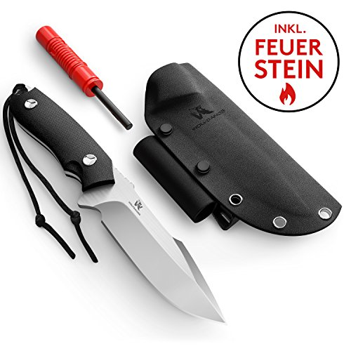 Wolfgangs Outdoor-Messer mit Kydex Stück D2 Stahl gefertigt - Inklusive Feuer-Starter und Notpfeife (Schwarz)