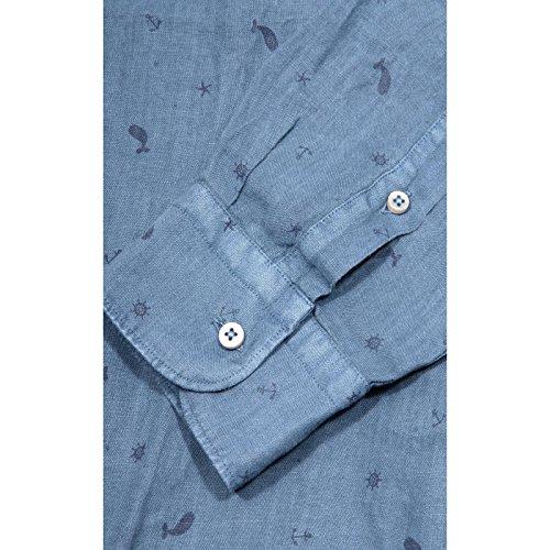 camicia ALTEA COLLO FRANCESE FANTASIA MARINA LINO camicie uomo shirt men 65042 Carta da zucchero