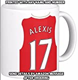 Novelty ARSENAL themed MUG personalised with ANY NAME & NUMBER ≈ A football team shirt / kit inspired design printed with any real or fantasy players name and number and a great gift for any fan or supporter ≈ A fun gift for tea or coffee drinker and ideal for mothers or fathers day birthday or christmas - listing category mug / mugs / cup / cups gift / gifts / present / presents