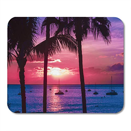 Hawaii-schaum (HOTNING Gaming Mauspads, Gaming Mouse Pad Luau Hawaii Seascape with Palms and Yachts Beach Sunset Waves 11.8