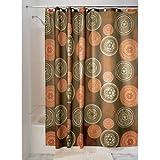iDesign Bazaar Duschvorhang | auffälliger Badewannenvorhang mit 12 Ösen aus Metall | Designer Duschvorhang in der Größe 183,0 cm x 183,0 cm | Polyester braun