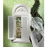Design Toscano MH30048 Finestra a Battenti con Specchio e Villa Toscana, Hardwood, Bianco, 4x61x122 cm