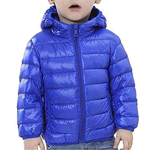 Tailloday Kinder Unisex Kids Daunenjacke Steppjacke mit Kapuze Jacket Übergangsjacke Herbst Winter (EU 146/152 (Etikett 150), Blau)