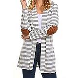 VEMOW Herbst Elegante Damen Frauen Casual Tägliche Lose Langarm Übergroßen Gestreiften Strickjacken Outdoors Patchwork Outwear Mantel(Grau, EU-42/CN-XL)