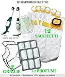 Kit 12Stück/Beutel (Microfaser) + 12Parfums + 2MOTORFILTER für Staubsauger Vorwerk Kobold VK 140, 150, VK140, VK150