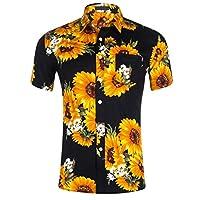 TUDUZ Blouse Women's Shirt Holiday Beach Sunflower Print Hawaiian Shirt Slim Fit Button Lapel Short Sleeve Casual Shirt Tops Blouse XXL Black
