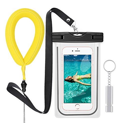 PolySky Wasserdichte Hülle Taschen mit Lanyard Pfeife Kamera Float Handschlaufe für iPhone 6S Plus 5 SE Samsung Galxy S7 S8 A5 A3 J7 Huawei Moto G5 G4 Wasserdichte Handy Beutel für Strand Wassersport Samsung-handy-beutel