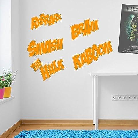 Incredible Hulk Worte Marvel Superhero Kinder Hände Wand Dekorationen Fenster Aufkleber Wall Decor Sticker Wall Art Aufkleber Sticker Wand Aufkleber Aufkleber Wandbild Décor DIY Deco Abnehmbare Wandaufkleber Colorful Aufkleber 08 - Orange