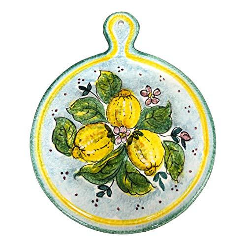 CERAMICHE D\'ARTE PARRINI- künstlerische italienische Keramik, dekorative Dreifuß Zitronen, handgemalt, hergestellt in Italien Toscana
