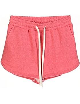 Donna Casuale Sport Pantaloncini Plus Size Coulisse Vita Elastica Fitness Pantaloni Corti Hot Pants SH Rosso XL