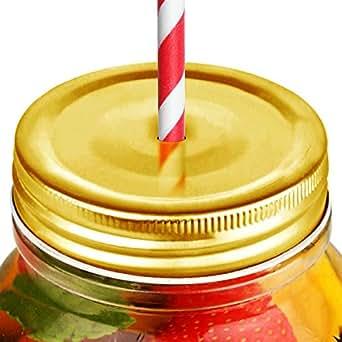 Paille en forme de pot à confiture avec couvercle à trou Doré/Mason Lot de 4 couvercles de boire bocaux, couvercles pour bocaux, couvercles pour bocaux à boire