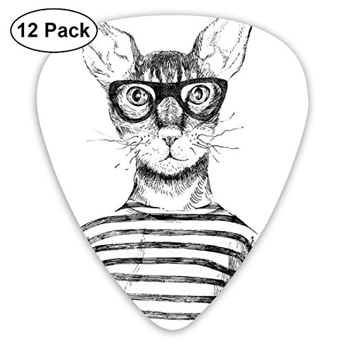 Guitar Picks - Abstract Art Colorful Designs,Hand Drawn Dressed Up Hipster New Age Cat Fashion Urban Free Spirit Artwork Print,Unique Guitar Gift,For Bass Electric & Acoustic Guitars-12 Pack