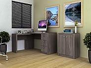 Tecnomobili Reversible Office Desk, Brown - H 74.5 x W 136 x D 113 cm, MDF