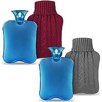 Magicfun Bolsa de Agua Caliente, Botella De Agua De Gran Capacidad 2L Goma Natural Días Frios (Gris + Rojo)
