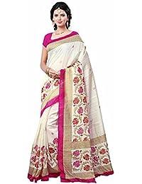 Kanchnar Women's Cotton Silk Off White,Pink Printed Party Wear Saree