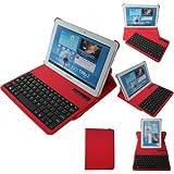 TECHGEAR Schutzhülle/Stand für Samsung Galaxy Tab 2 10.1 P5100/P5110/P5120 (PU-Lederhülle und Stand mit abnehmbarer kabelloser Bluetooth-Tastatur, 360° schwenkbar) rot