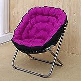 WSSF- Sillas plegables Tela de tela metálica Sillón simple Sala de estar Dormitório Dormitório Sofá Ocio Lazy Reposeras Balcón Jardín Reclinable Plegable (Color : Purple)