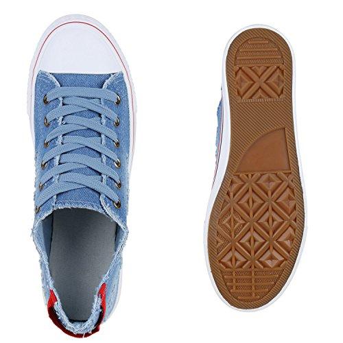 Sportschuhe Fransen Jeans Sneakers Schuhe Damen Denim Hellblau axwTAnq