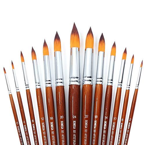 Set di 13 pennelli da pittura con manico lungo e punta rotonda, con setole sintetiche di zibellino di alta qualità per acquerelli, pittura ad olio, guazzo