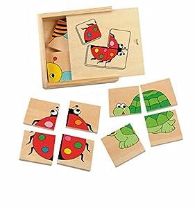 Woodyland Rompecabezas Mini Puzzle para Hacer el Juego 4 Animales Rompecabezas de Madera Juguetes de Madera de Madera