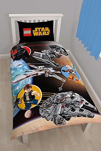 Star Wars Kinder Wende Bettwäsche Set Lego Space (Einzelbett) (Bunt) (Lego Star Wars Sets $50)