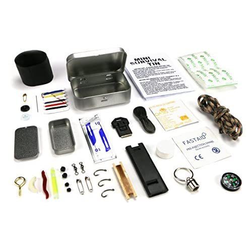 Mini Survival Tin – Pocket-sized tin, loaded with an impressive amount of outdoor survival essentials....